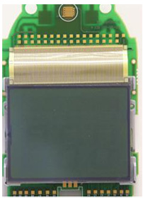 LCD components connected to printed circuit board (PCB) via heat sealing