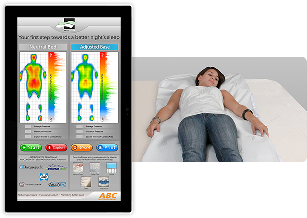 Tablet with software and girl using pressure mat