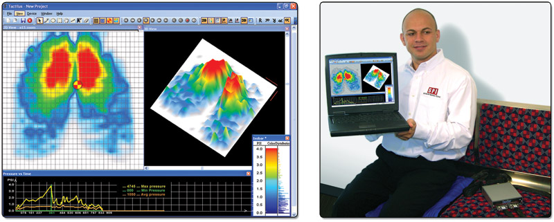 Surface pressure profile of a person sitting using the Tactilus® Body Mapping Sensor System