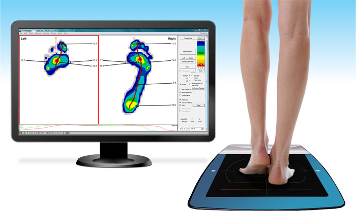 Surface pressure profile of a person walking across sensor pad using the Go-tec® Foot Plate Pressure Sensor System