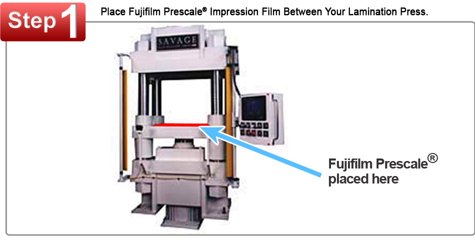 Fujifilm Prescale Film Placed on a Battery Lamination Press