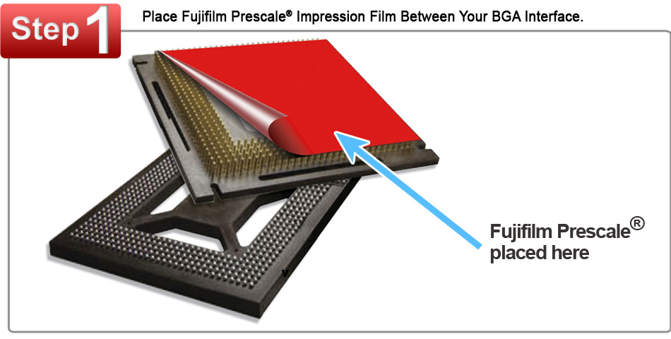 Fujifilm Prescale Film Placed on a BGA