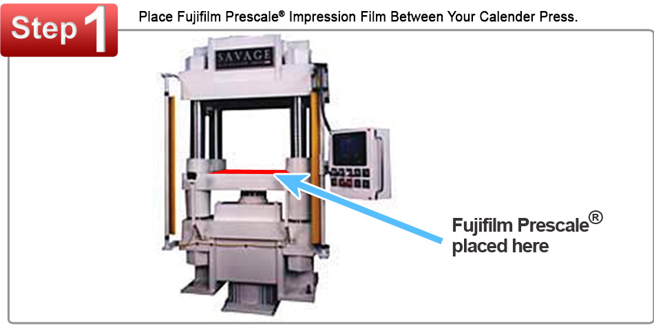 Fujifilm Prescale Film Placed Between a Calendering Pressure Press