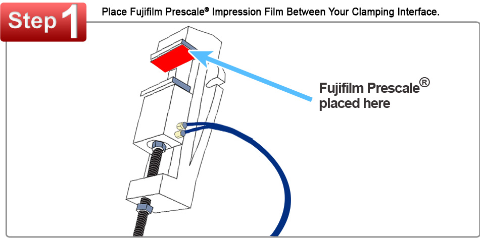 Fujifilm Prescale Film Placed Between a Clamping Interface