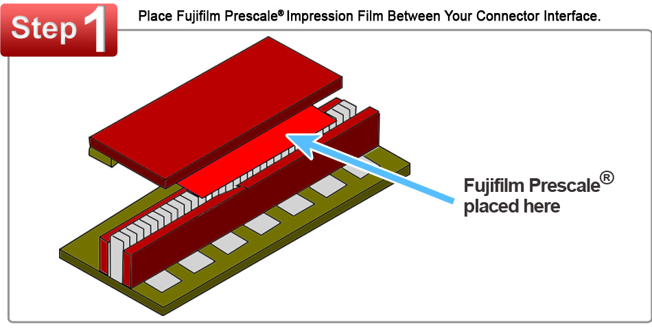 Fujifilm Prescale Film Placed Between a Connector Interface