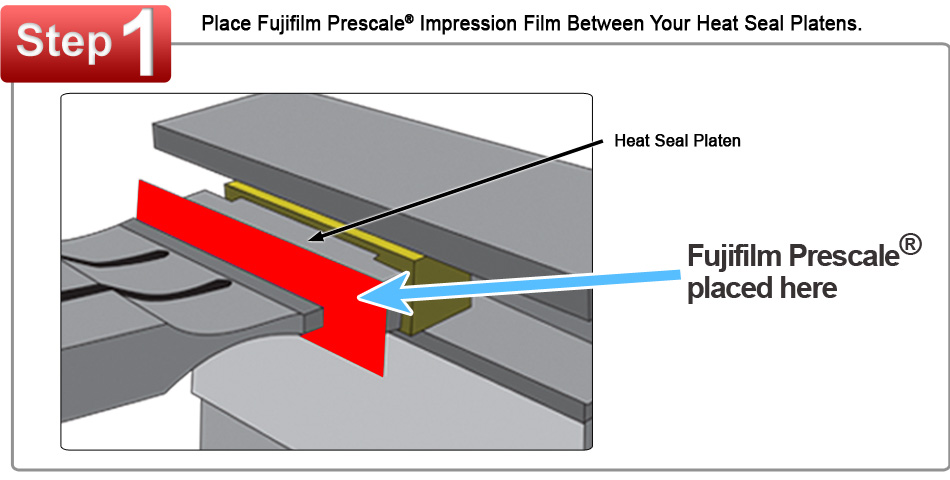 Fujifilm Prescale Film Placed Between Two Heat Sealing Platens