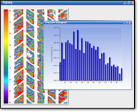 Screenshot of Topaq® software displaying Distribution Histograms